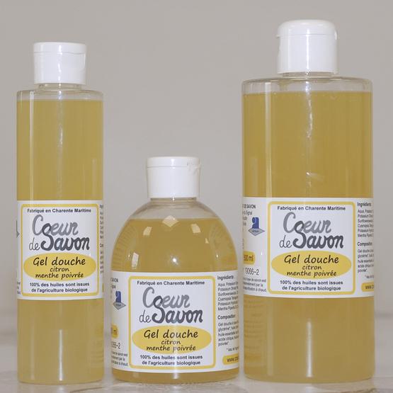 gel douche savon liquide citron menthe poivrée